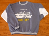 Grey Airplane Sweatshirt - Closeout Save 40%
