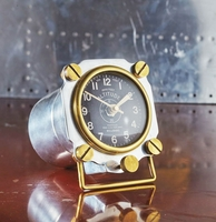 Metal Altimeter Desk Clock - Polished Aluminum/Brass