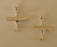 Silver Hi Wing Airplane Earrings