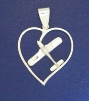 Silver Low Wing Heart Pendant Airplane Jewelry