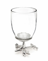 Wine Glass with Airplane Base - Set of 2