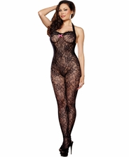 Queen Size Floral Lace Backseamed Bodystocking