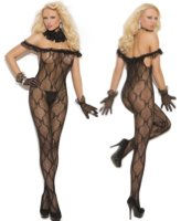 Bodystocking Off Shoulder Ruffled Lace