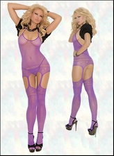 Bodystocking with Halter Neckline & Suspender Styling