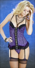 Bustier & Stockings Set Purple Leopard