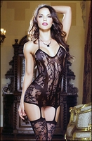 Gartered Chemise & Stockings Patterned Lace Net