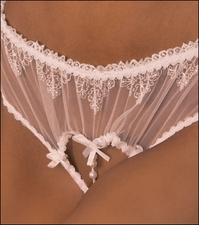 Bridal Crotchless Panty Embroidered Lace #H173