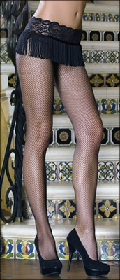 DreamGirl #0131 Crotchless Fishnets with Lace & Fringe