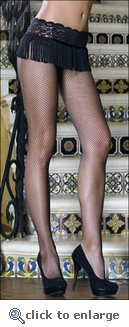 Crotchless Fishnets with Lace & Fringe
