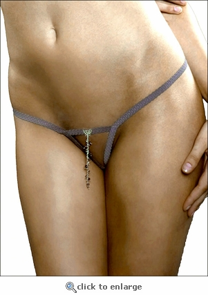 Crotchless G-String Butterfly Charm & Beads