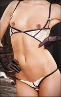 Crotchless Lingerie Set Crotchless Thong & Demi Bra