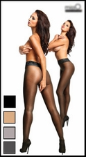 Crotchless Pantyhose with Lace & Shine