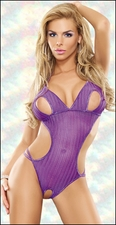 Crotchless Teddy Purple Herringbone Crochet