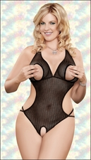 *FREE CROTCHLESS PANTY* Crotchless Teddy Queen Size Black Herringbone Crochet