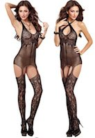 Versatile Lace & Net Gartered Dress & Stockings
