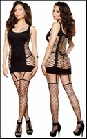 Queen Size Diamond Net Garter Dress & Stockings #0102X