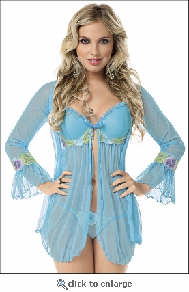 Embroidered Baby Doll & Robe Set