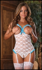 Crotchless Teddy with Open Bust White Lace #B476W