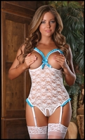 Crotchless Teddy Luv Lace White