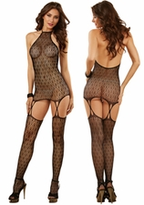 Gartered Chemise Art Deco Lace Net