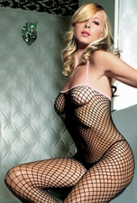 Industrial Net Bodystocking with Pink Trim