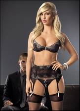 Inner Goddess Bra, Garter Belt, Panty & Stockings