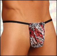 Mens G-String Leopard Lace