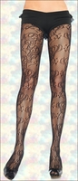 Patterned Net Tights Filigree Lace
