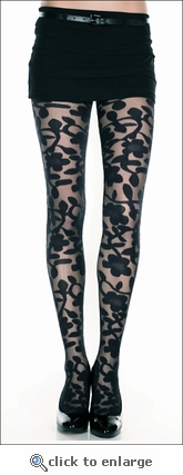 Patterned Pantyhose Bold Floral
