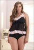 Plus Size Baby Doll Lingerie Pink Frills