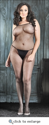 Plus Size Bodystocking Fishnet Thin Strap