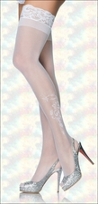 Plus Size Bride Floral Design Stockings