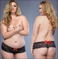 Plus Size Crotchless Thong Black Lace