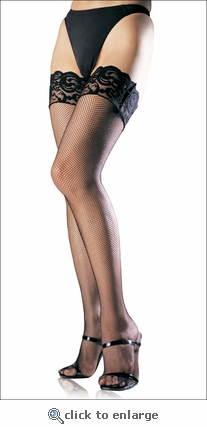 Plus Size Fishnet Stockings with Lace Top
