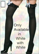 Plus Size Stocking with Lace Ruffle & Bow