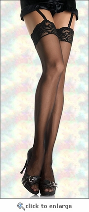 Plus Size Stockings with Lace Tops