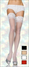 Plus Size Stockings with Stay Up Lace Tops