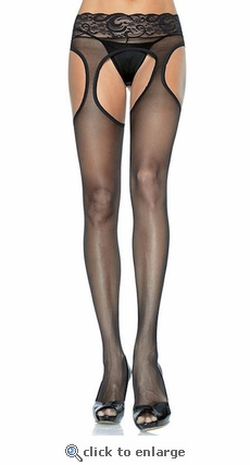 Plus Size Suspender Pantyhose with Lace