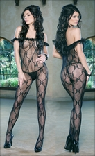 Queen Bodystocking Off Shoulder Ruffled