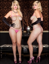 Queen Size Bodystocking Pink Trimmed Diamond Net