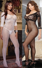 Queen Size Bodystocking Patterned Net Accents