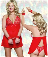 Queen Size Naughty Crotchless Baby Doll & Restraints