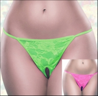 Queen Size Crotchless Panties Neon Lace