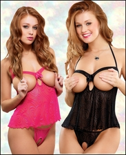 *FREE CROTCHLESS PANTY* Queen Size Crotchless Shorty Baby Doll