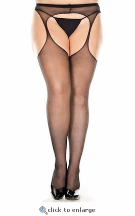 Queen Size Crotchless Suspender Pantyhose