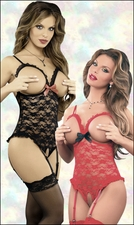 Queen Size Crotchless Teddy Luv Lace