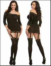 Queen Size Garted Chemise Attached Stockings