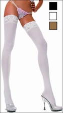 Queen Size Opaque Stockings with Lace Tops