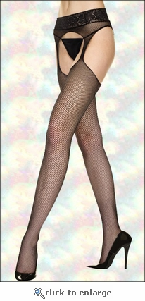Queen Size Suspender Pantyhose Fishnet & Lace