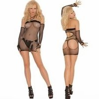 Sexy Open Rear Net Dress & Gloves Set